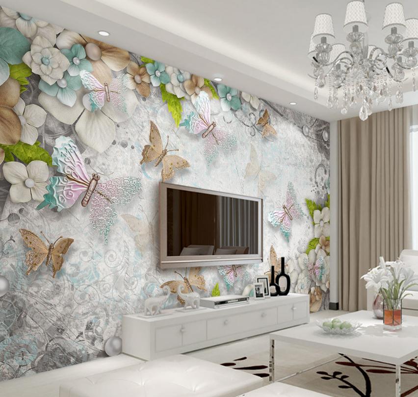 3D Pearls Butterflys 7 Wall Paper Murals Wall Print Wall Wallpaper Mural AU Kyra