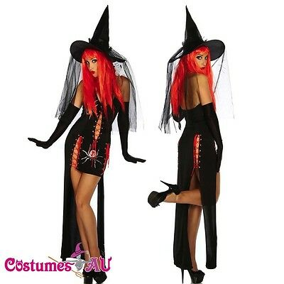 8406 Ladies Witch Halloween Fancy Dress Costume Outfit Hat 8 10 12