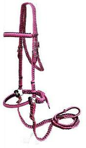 PINK-BLACK-Braided-Nylon-Bit-Less-Bridle-With-Reins-NEW-HORSE-TACK