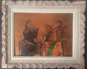 Cubisme-XXe-Tableau-Peinture-Cubiste-Femmes-assises-Huile-sur-carton-signe-c1950