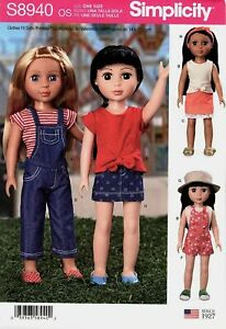 New-Simplicity-8940-for-14-034-Doll-Clothes-top-skirt-short-pants-overalls