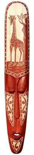 NEU Schöne 100 cm Wand Maske Maori Tribal Giraffe Holz Afrika Maske91
