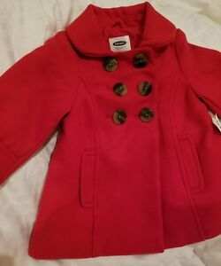 c42c7be6f884 Old Navy Baby Infant Girl Red Pea Coat 12-18 Months Jacket Buttons ...