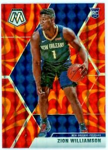 ZION-WILLIAMSON-2019-20-Panini-Mosaic-RED-Prizm-Rookie-Card-RC-209-Pelicans