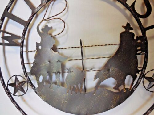 "29/"" WILD WEST TEAM ROPER COWBOY COWGIRL RODEO METAL WALL ART WESTERN HOME RUSTY"
