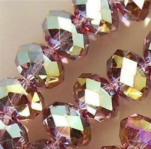 6*8mm 70PC Purple Multicolor Crystal Faceted Gems Loose Beads