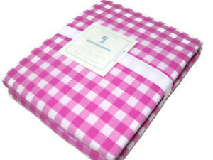 Pottery-Barn-Kids-Pink-Organic-Cotton-Check-Full-Queen-Duvet-Cover-New