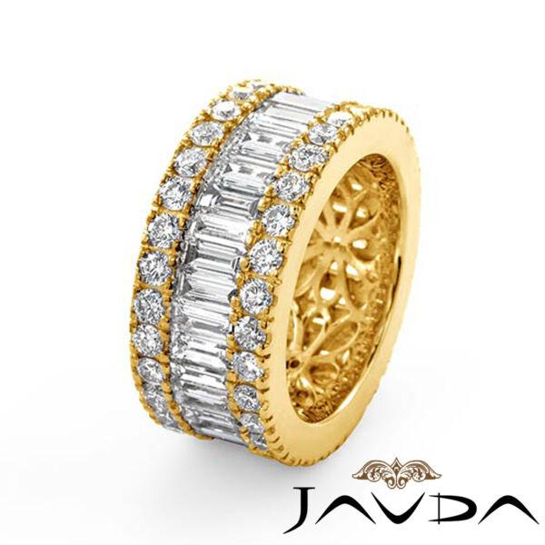 Womens Wedding Ring Baguette Round Diamond Eternity Band 18k Yellow Gold 5.70Ct