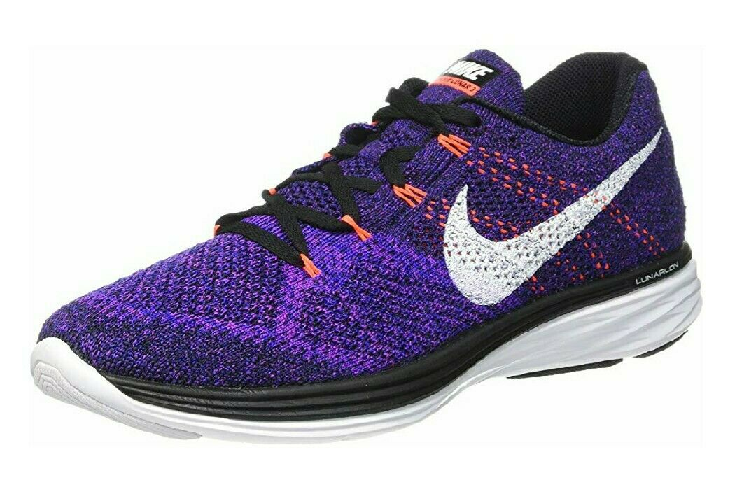 Nike Flyknit Lunar 3 Running shoes Purple Black Concord 698181 014 Mens Size 11.5