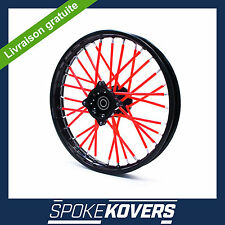 COUVRES RAYONS ROUGE MOTOCROSS MX ENDURO ROUE JANTE SPOKE COVERS SKINS PIT
