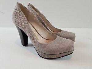 MIEZKO-Brazil-Designer-Stone-Textured-Leather-Stacked-High-Heel-Women-039-s-Size-6-5