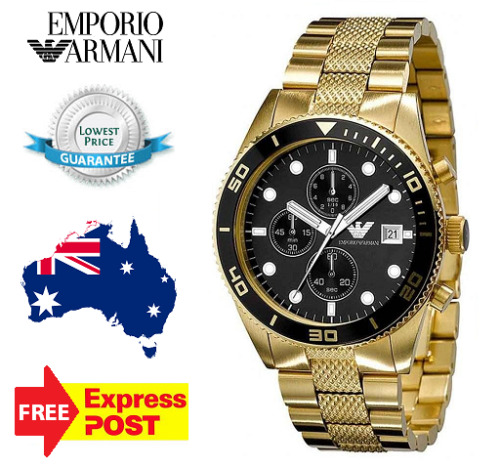 1 of 1 - EMPORIO ARMANI AR5857 Mens Watch Gold Black Stainless Steel AR5857