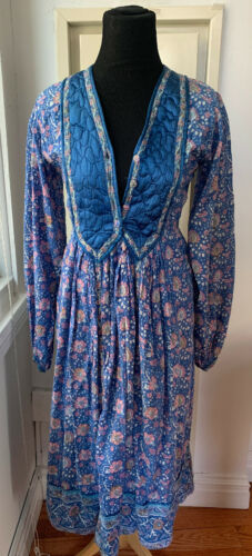 Vintage Indian Metallic Boho Dress Phool CRJ Sz M/