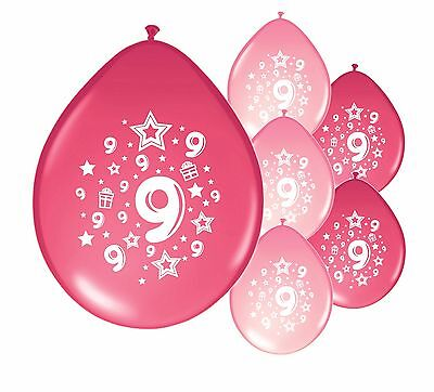 "20 X 9th BIRTHDAY GIRL BALLOONS /""9 TODAY/""  BIRTHDAY BALLOONS MIX PINK PA"