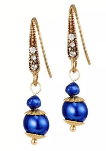 Rosie Fox London Agua dulce Perla Pendientes Azul Cobalto orejas perforadas Nuevo