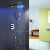 Led Rainshower Bathroom Shower Faucet Mixer Tap Wall Mounted Square Chrome