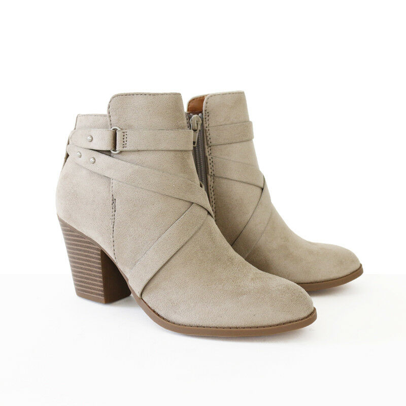 "Ankle Straps Suede Boots Booties 2 3/4"" Stacked Heel Alomond Toe Clay"