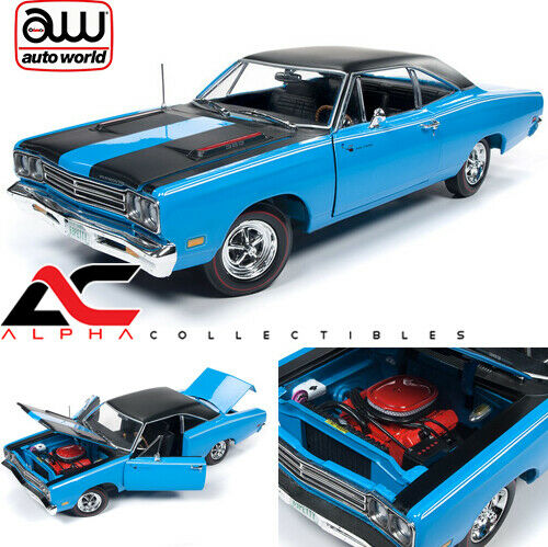 AUTOWORLD AMM1184 1 18 1969 PLYMOUTH ROAD RUNNER (PETTY Blau)