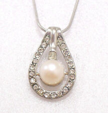 Fresh Water Pearl Birthday Xmas Wedding Valentine 18KGP Necklace Pendant Chain