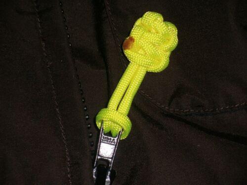 "Vert Flux 5 Lot 550 Paracord Zipper Pull//Keychains ~ 2.5/"""