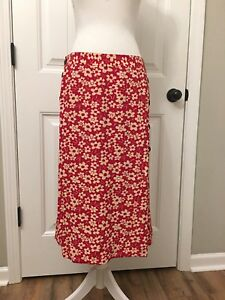 1da79da92aca New Madewell Side-Button Skirt in Full Bloom Red Sz 10 J9036 | eBay