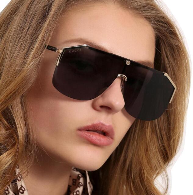082feb587ca Authentic Gucci Sunglasses GG0291S Metal Shield Gold Frame Gray Lens ...