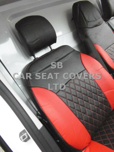 TO FIT A VAUXHALL VIVARO VAN SEAT COVERS HIGH ROOF CROSS STITCH BLK LEATHERETTE