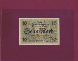 Memel 10 Mark 1922 P-5 XF+++  Lithuania     Germany