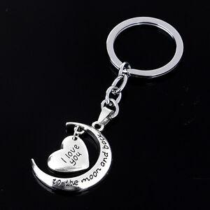 Herz-Silber-Anhaenger-Schluesselringe-Keychain-Schluesselanhaenger-Geschenk