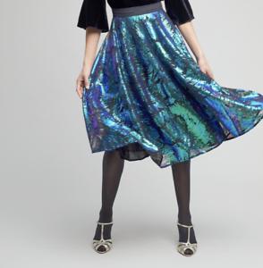 ANTHROPOLOGIE, Full Sequin Green bluee Midi Skirt, 8, RRP  , BRAND NEW