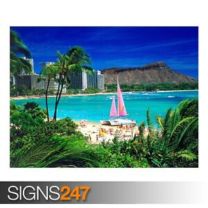 WAIKIKI-OAHU-HAWAII-3289-Beach-Poster-Photo-Poster-Print-Art-A0-A1-A2-A3-A4