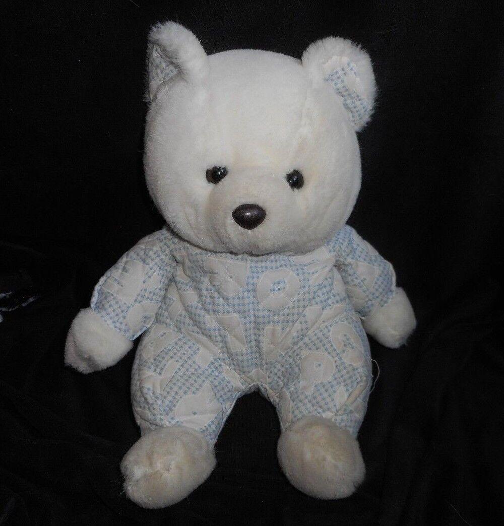 VINTAGE 1991 SMILE BABY blueE WHITE LETTERS TEDDY BEAR STUFFED ANIMAL PLUSH TOY