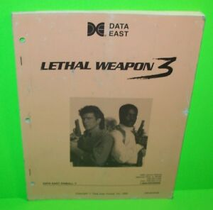 LETHAL-WEAPON-3-Pinball-Manual-Original-1992-Arcade-Game-Schematics-DATA-EAST
