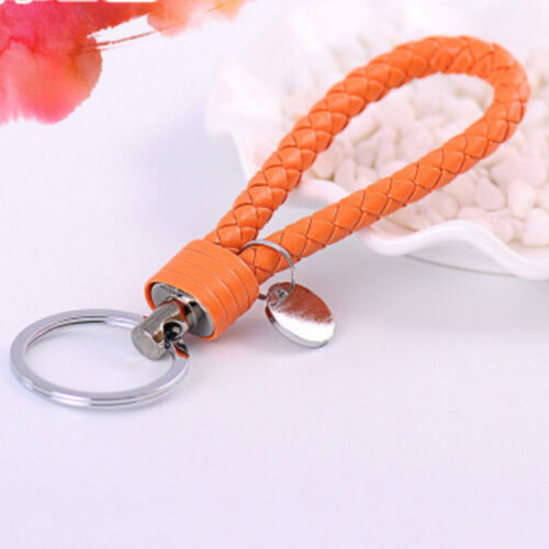 Braided PU Leather Strap Keyring Keychain Car Key Chain Ring Key Fob Funny 2/_7