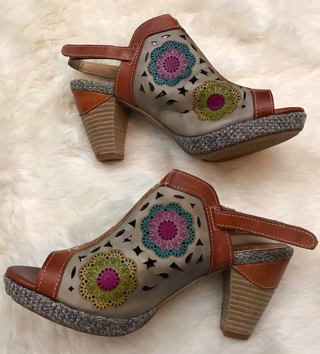 L'Artiste SPRING STEP Belen Heels Slingback Peep Toe QVC Sandals QVC Toe 42 10.5-11 978229