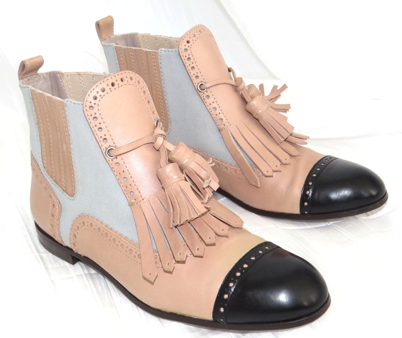 MARC BY MARC JACOBS Tan Leather Fringe Oxford Ankle Boots shoes Sz 8 7.5 EU 38.5