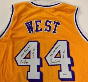reputable site 35023 bbb99 Details about JERRY WEST Stat x5 Inscription HOF Signed Lakers Jersey BAS  Beckett Witness COA