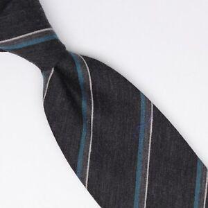 Gladson-Mens-Wool-Silk-Necktie-Dark-Gray-Blue-White-Stripe-Weave-Woven-Tie-Italy