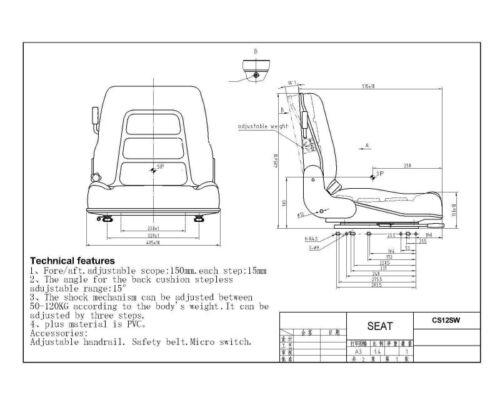 Camion Benne//Tondeuse // Qualité Universel Suspension Siège Chariot Élévateur
