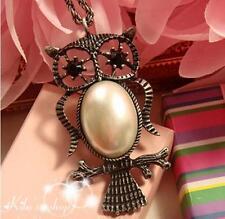 Retro Vintage Pearl Owl Pendant Long Necklace UK Seller