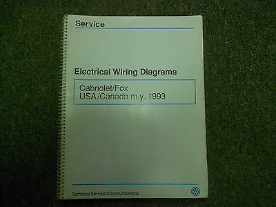 1993 VW Cabriolet Fox электропроводка диаграмма магазин руководство OEM  книга 93 заводской | eBayeBay