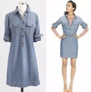 90-J-Crew-Women-039-s-Small-Blue-Denim-Chambray-Roll-Sleeve-Popover-Shirt-Dress