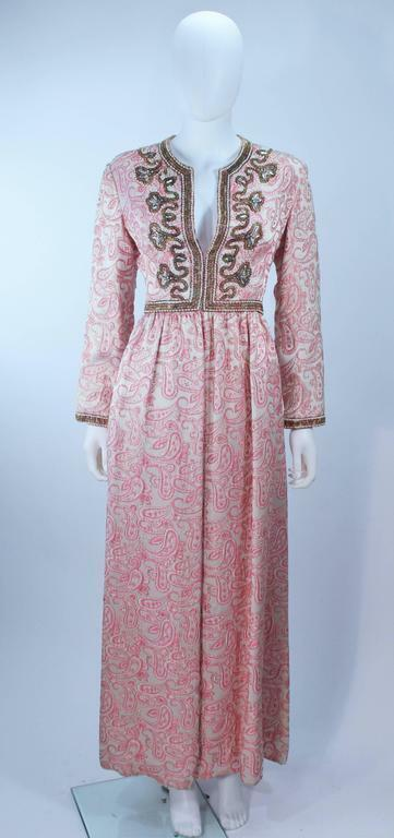CEIL CHAPMAN 1960s Pink Paisley Brocade Gown with… - image 2