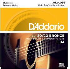 3 Sets D'Addario EJ14 Light Top/Medium Bottom/Bluegrass, 12-56  80/20 Bronze