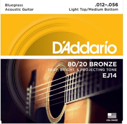 6 Sets D/'Addario EJ14 Light Top Medium Bottom 12-56 80//20 Bronze