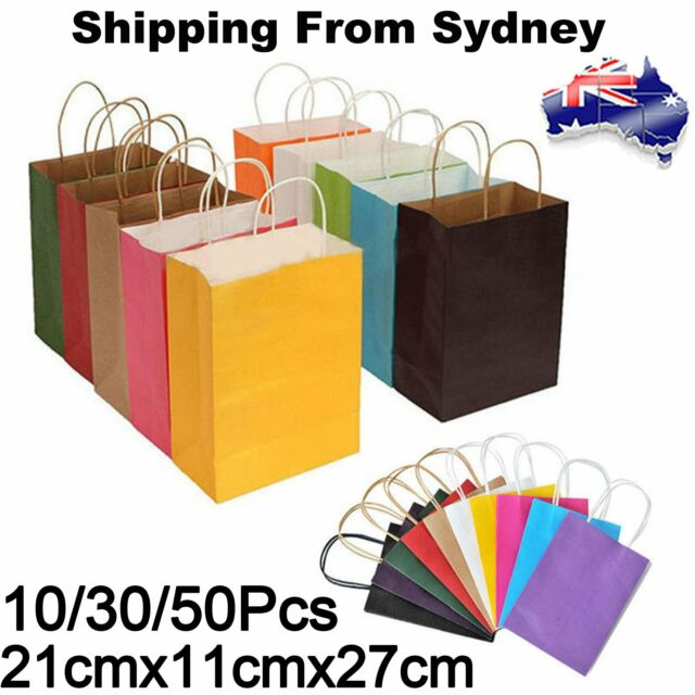 Kraft Paper Bags Gift Carrier Bag With Handles Birthday Party loot Wrap Handbag