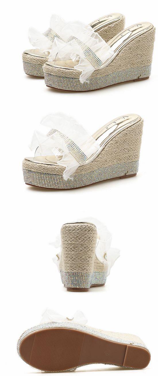 Último gran descuento Sandalias zapatillas mujer zuecos plata colorido cuña 10.5 cm mar cómodo 1181
