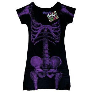 Kreepsville-666-80s-Gothic-Horror-Purple-Skeleton-Bones-Black-Tunic-Mini-Dress-S