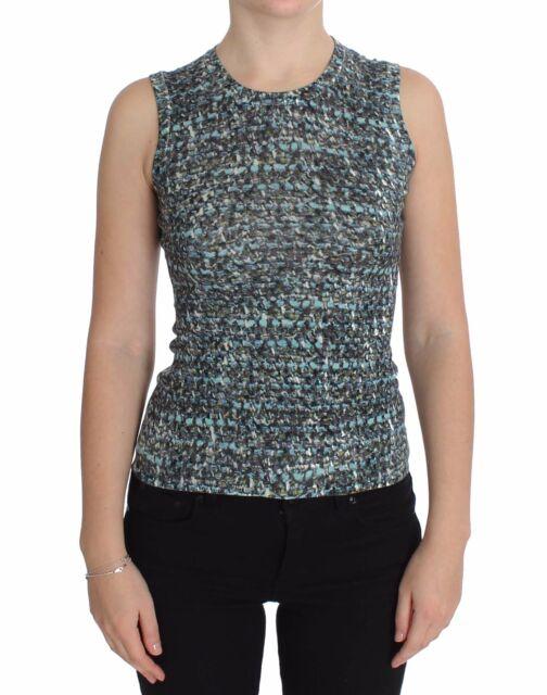 NWT DOLCE & GABBANA Vest Sleeveless Blue Wool Sweater Pullover IT46/US12/XL