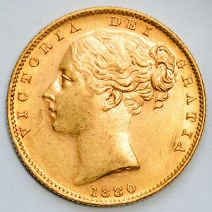 UNCIRCULATED 1880-S Queen Victoria Gold Shield Sovereign - Sydney Mint